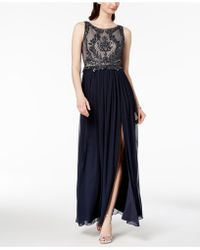 Adrianna Papell - Embellished Lace Slit Gown - Lyst