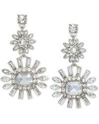 Badgley Mischka - Silver-tone Crystal Flower Drop Earrings - Lyst