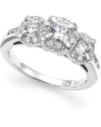 Macy's - Diamond Three-stone Halo Ring (1 Ct. T.w.) In 14k White Gold - Lyst