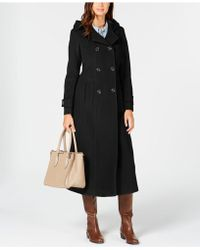 Anne Klein - Petite Double-breasted Hooded Maxi Coat - Lyst