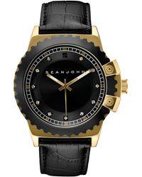 Sean John - Men's Black Diamond Collection Diamond Accent Black Leather Strap Watch 49mm 10030887 - Lyst