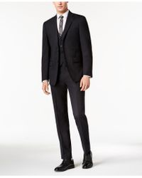 Calvin Klein - Slim-fit Stretch Brown Neat Vested Suit - Lyst