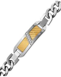 Macy's - Men's Diamond (1/10 Ct. T.w.) Decorative Plate Heavy Link Bracelet In Stainless Steel With 18k Gold Inlay - Lyst