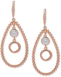 Anne Klein - Rose Gold-tone Crystal Orbital Drop Earrings - Lyst