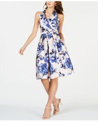 Adrianna Papell - Sleeveless Collar Belted Fit & Flare Dress - Lyst