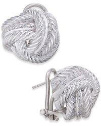 Macy's - Diamond Knot Stud Earrings (1/4 Ct. T.w.) In Sterling Silver - Lyst