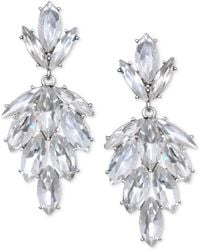 Badgley Mischka - Silver-tone Marquise Crystal Cluster Drop Earrings - Lyst