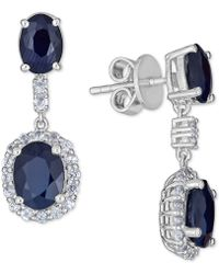 Macy's - Sapphire (5 Ct. T.w.) And White Sapphire (3 Ct. T.w.) Drop Earring In Sterling Silver - Lyst