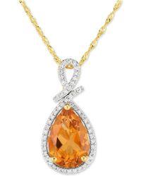 "Macy's - Citrine (2-1/2 Ct. T.w.) & Diamond (1/8 Ct. T.w.) 18"" Pendant Necklace In 14k Gold - Lyst"
