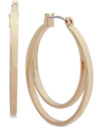 Nine West | Gold-tone Double-row Hoop Earrings | Lyst
