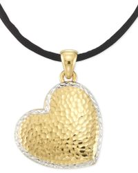 """Signature Gold - Tm Textured Reversible Silk Cord Heart 18"""" Pendant Necklace In 14k Gold Over Resin Core - Lyst"""