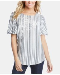 Karen Kane - Embroidered Striped Top - Lyst