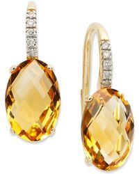Macy's - 14k Gold Earrings, Citrine (6 Ct. T.w.) And Diamond Accent Oval Leverback Earrings - Lyst