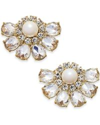 Kate Spade - Gold-tone Crystal & Imitation Pearl Cluster Stud Earrings - Lyst