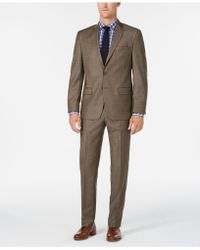 Michael Kors - Classic/regular Fit Natural Stretch Brown Sharkskin Wool Suit - Lyst