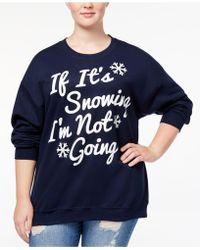 Hybrid | Trendy Plus Size Snowing Graphic-print Sweatshirt | Lyst