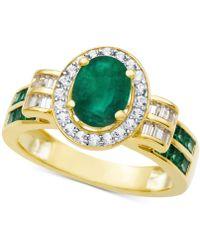 Macy's - Emerald (1-3/4 Ct. T.w.) & Diamond (3/8 Ct. T.w.) Ring In 14k Gold - Lyst