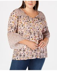 Style & Co. - Plus Size Mixed-print Lantern-sleeve Peasant Top, Created For Macy's - Lyst