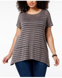 INC International Concepts - I.n.c. Plus Size Illusion-striped Top, Created For Macy's - Lyst