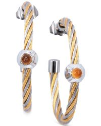 Charriol - Women's Fabulous Citrine-accent Two-tone Pvd Stainless Steel Cable Hoop Earrings 03-821-1219-2 - Lyst