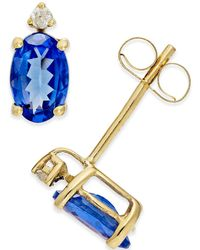 Macy's - Tanzanite (3/4 Ct. T.w.) And Diamond Accent Stud Earrings In 14k Gold - Lyst