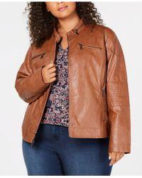 Maralyn & Me - Juniors' Plus Size Faux-leather Moto Jacket - Lyst
