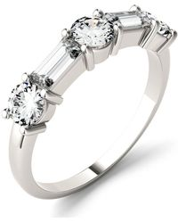 Charles & Colvard - Moissanite Round And Baguette Stackable Ring (1-1/6 Ct. Tw. Diamond Equivalent) In 14k White Or Rose Gold - Lyst