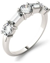 Charles & Colvard - Moissanite Round And Baguette Stackable Ring (1-1/6 Ct. Tw.) In 14k White Or Rose Gold - Lyst