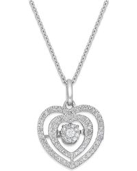 Twinkling Diamond Star - Diamond Double Circle Pendant Necklace In 14k White Gold (3/8 Ct. T.w.) - Lyst