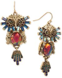 Betsey Johnson - Gold-tone Multi-stone Owl Drop Earrings - Lyst