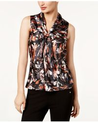 Nine West | Printed Tie-neck Shell | Lyst