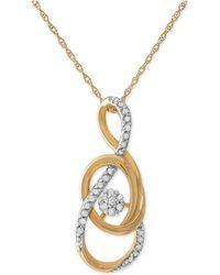 Macy's - Diamond Swirl Pendant Necklace (1/10 Ct. T.w.) In 10k Gold - Lyst