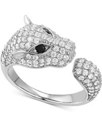 Macy's - Cubic Zirconia Pavé Panther Cuff Ring In Sterling Silver - Lyst