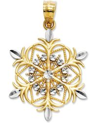 Macy's - 14k Gold And Sterling Silver Charm, Snowflake Charm - Lyst