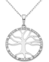 "Macy's - Diamond Tree Of Life 18"" Pendant Necklace (1/10 Ct. T.w.) In Sterling Silver - Lyst"