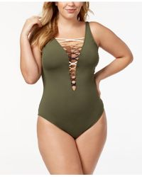Bleu Rod Beattie - Plus Size Lace-up One-piece Swimsuit,created For Macy's Style - Lyst