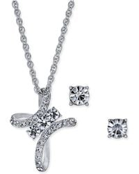 """Charter Club - Silver-tone Crystal Cross Pendant Necklace & Stud Earrings Set, 17"""" + 2"""" Extender, Created For Macy's - Lyst"""