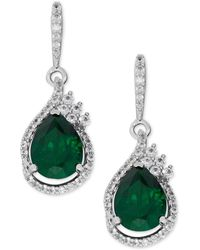 Macy's - Lab-created Emerald (2-3/4 Ct. T.w.) And White Sapphire (1/2 Ct. T.w.) Drop Earrings In Sterling Silver - Lyst
