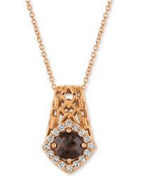 "Le Vian - ® Chocolate Quartz® (5/8 Ct. T.w.) & Diamond (1/4 Ct. T.w.) 18"" Pendant Necklace In 14k Rose Gold - Lyst"
