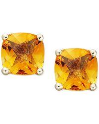 Macy's - 14k Gold Earrings, Cushion Cut Citrine Stud Earrings (1-3/4 Ct. T.w.) - Lyst