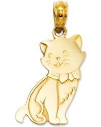 Macy's - 14k Gold Charm, Sitting Cat Charm - Lyst