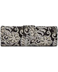 Adrianna Papell - Velvet Embroidered Clutch - Lyst