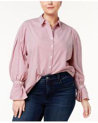 Soprano - Trendy Plus Size Cotton Pinstriped Blouse - Lyst