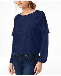 Maison Jules - Lace-shoulder Top, Created For Macy's - Lyst