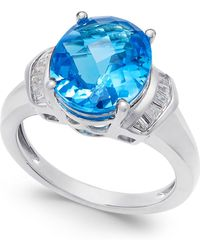Macy's - Swiss Blue Topaz (4-9/10 Ct. T.w.) And White Topaz (1/4 Ct. T.w.) Ring In Sterling Silver - Lyst