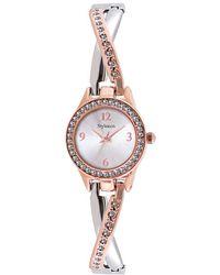 Style & Co. - Women's Two-tone Criss-cross Bangle Bracelet Watch 24mm Sy033srg - Lyst