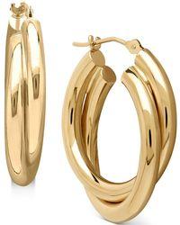 Macy's - Double Doop Earrings In 14k Gold - Lyst