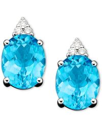 Macy's - 14k White Gold Earrings, Blue Topaz (5-1/2 Ct. T.w.) And Diamond (1/10 Ct. T.w.) - Lyst