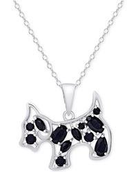 Macy's | Black Spinel Dog Pendant Necklace In Sterling Silver | Lyst