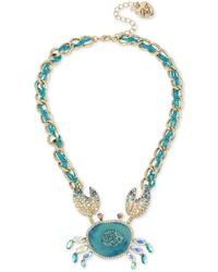 "Betsey Johnson - Two-tone Multi-stone Crab Pendant Necklace, 16"" + 3"" Extender - Lyst"